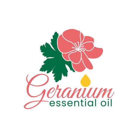 geranium essential oil logo vector template