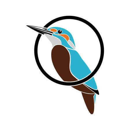 kingfisher bird colorful logo illustration
