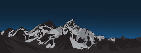 everest mountain landscape vector illustration with ultra wide size 일러스트