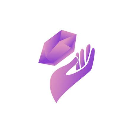 crystal healing stone logo vector illustration