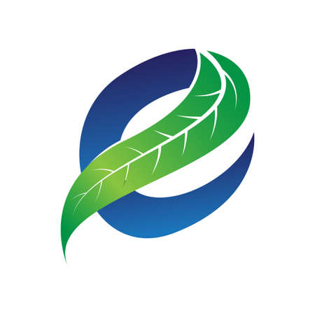 green and blue letter e for eco companies with leaf illustration Vetores