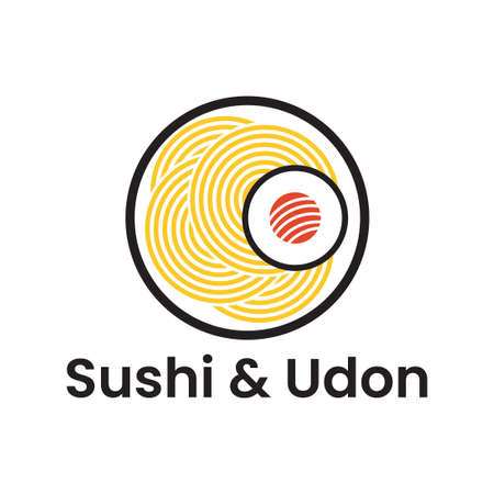 sushi and udon japanese food logo illustration suitable for restaurant, cafe, and bar