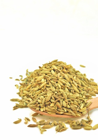 saunf: close up of fennel seeds kept in wooden spoon