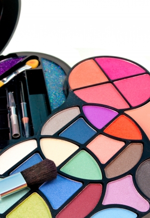 close up of multicolored eyeshadow kit Stock Photo