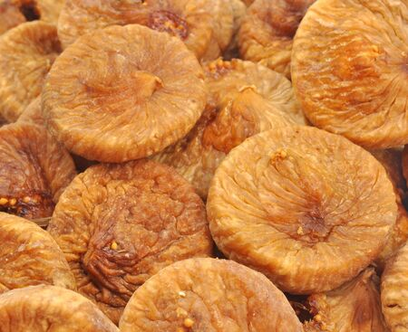 close up pile of dried figs Stock Photo