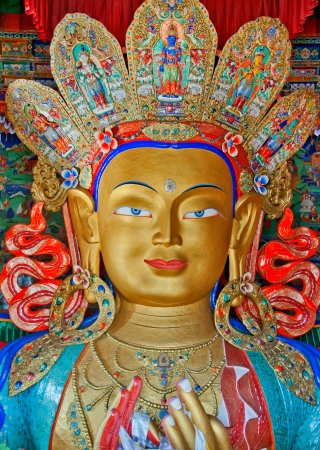front view of Maitreya buddha in Thiksey monastery, leh, ladakh, India Stock Photo