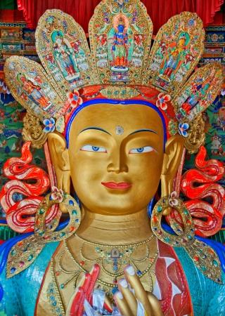 front view of Maitreya buddha in Thiksey monastery, leh, ladakh, India Standard-Bild