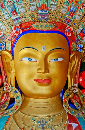 front view of Maitreya buddha in Thiksey monastery, leh, ladakh, India photo