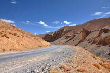 curving: sharp curving road in barren mountains