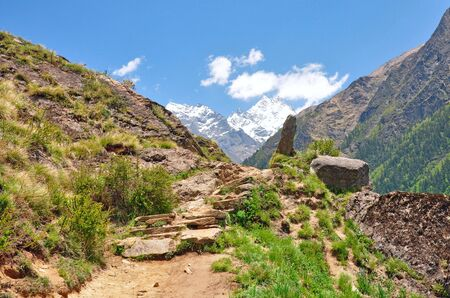inclined: A inclined trekking path in mountains