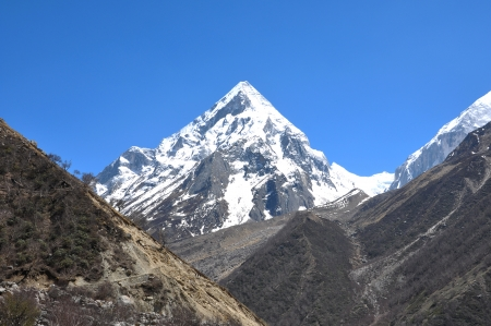 conical: conical snow clad himalayan peak