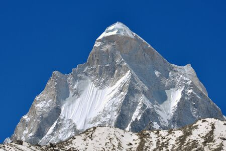 shivling: close shot of mount Shivling Peak Stock Photo