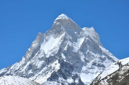 shivling: close shot of snow clad Shivling peak in Indian Himalaya