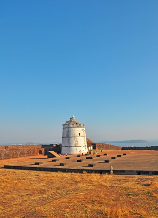 aguada: visitors at fort aguada watch tower in Goa India Stock Photo