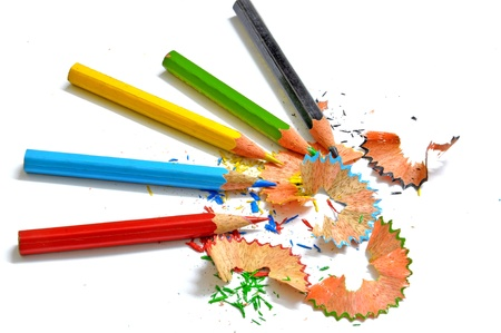sharpened pencil colors with saw dust Stock Photo