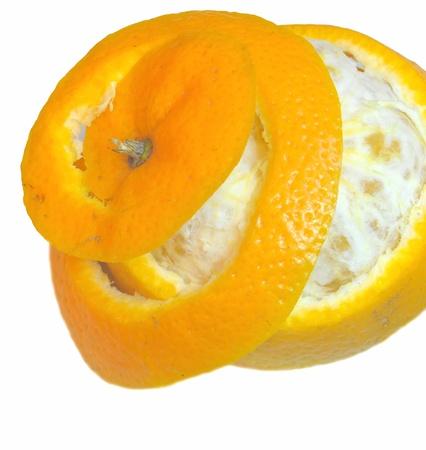 close up of spirally peeled orange isolated on white Stock Photo - 16822409