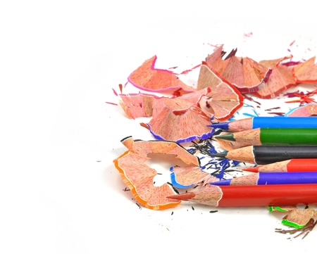 close up of colorful pencil colors and shave arranged on white Stock Photo - 16825222