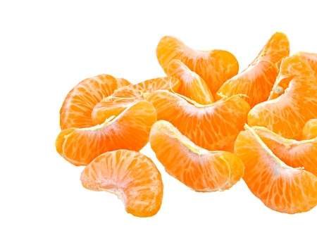 pieces of peeled orange on white