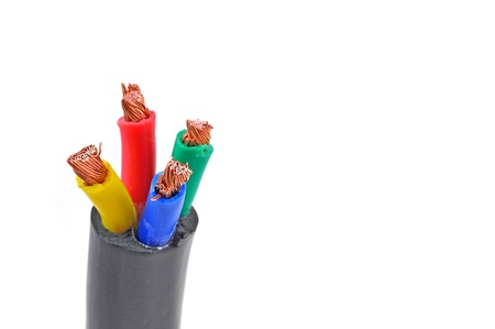close up of electric cable with four terminals Stock Photo - 16856096