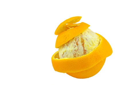 partially peeled orange on white  Stock Photo - 17502309
