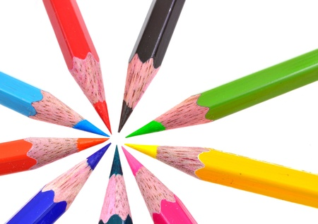 common assembly point of colorful pencil colors