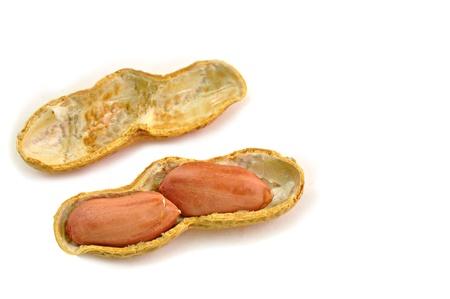 pygmy nuts: close up of split pod of ground nut Stock Photo
