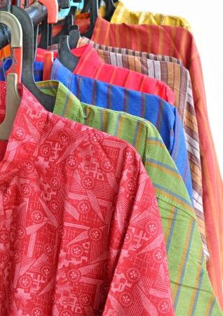 kurta: close up of colorful shirts for men Stock Photo