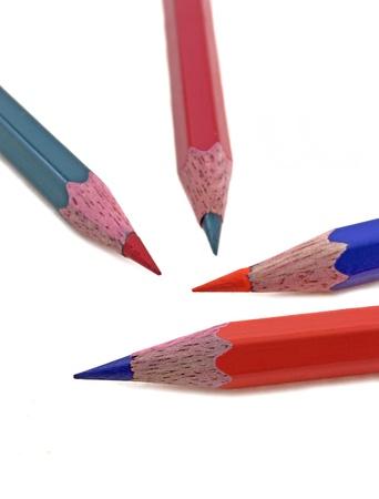 mismatch: pencil color with mismatching tips Stock Photo