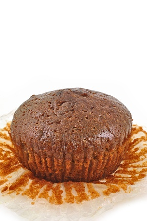 close up of chocolate muffin isolated on white  Stock Photo - 16845334