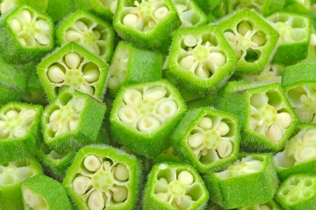 close up slices of okra pods Stock Photo