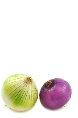 nascent: clsoe up of pair of onions on white