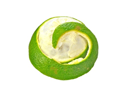 close up of partially peeled sweet lime on white Stock Photo - 16903171