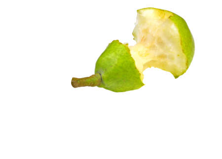 close up of partially eaten pear isolated on white