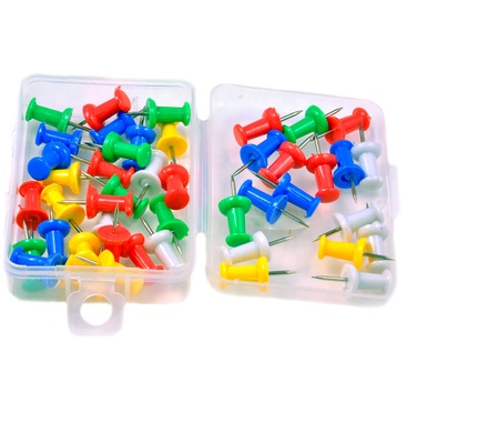 close up of push pins kept in plastic box Stock Photo - 16903069