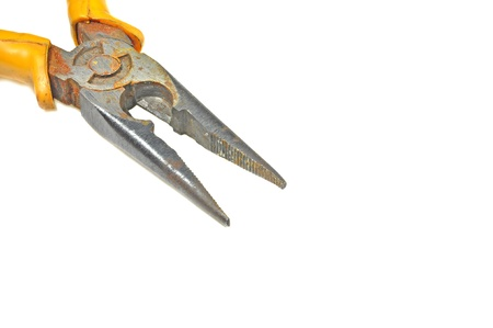close up of front portion of pliers isolated on white  Stock Photo - 16901209