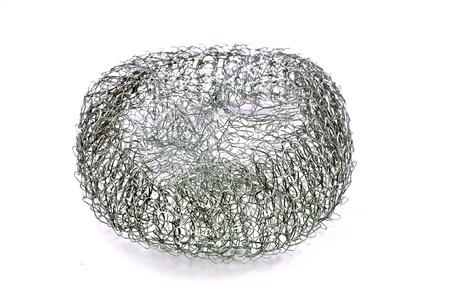 close up of metalic pot cleaner gauz isolated on white