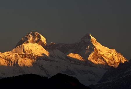 mountain Nanda Devi during sunrise photo