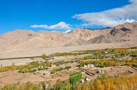 wide shot of barren valley in ladakh with patch of human settlement and vegetation Stock Photo - 17361009