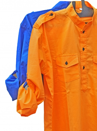 colorful mens,s shirt abainst white background Stock Photo