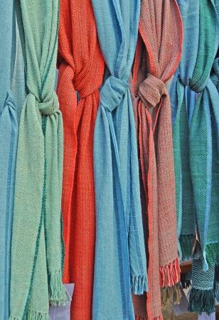 hanging colorful mufflers,