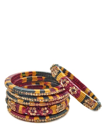 close up of traditional Indian Lac Bangles