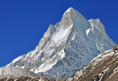 close up of mount  Shivling   in Indian Himalaya