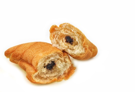 chocolate croissant on white background Stock Photo