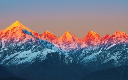scene of sunset on Mountain Peaks panchachuli  In Indian Himalaya