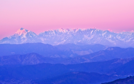 scene of himalaya during late sunset