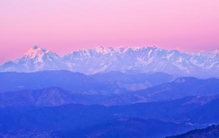 scene of himalaya during late sunset