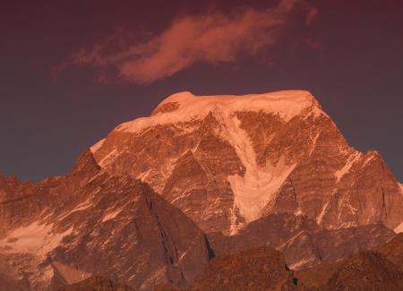 close shot of mountain  Hanthi Parvat  in Indian Himalaya Stock Photo