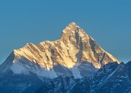 early sunset scene over mountain  Nanda devi  Stock Photo