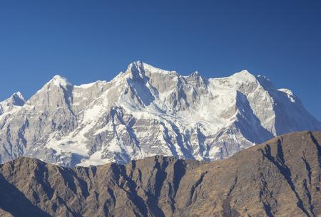 Close shot of Mountain Chaukhambha In Himalaya