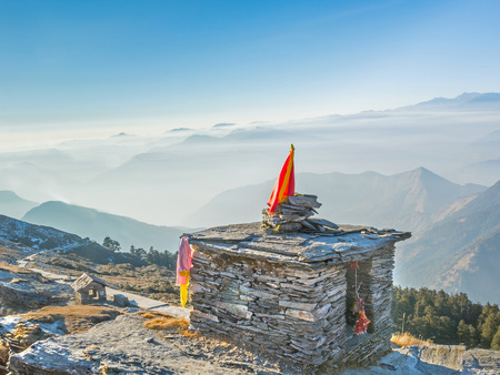 A Hindu temple at hill top in Indian Himalaya
